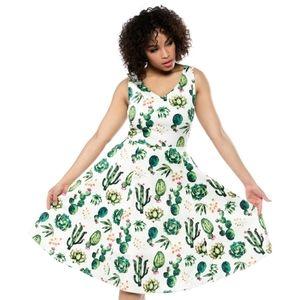 New Retro Cactus Print Cotton Cocktail Dress- XL